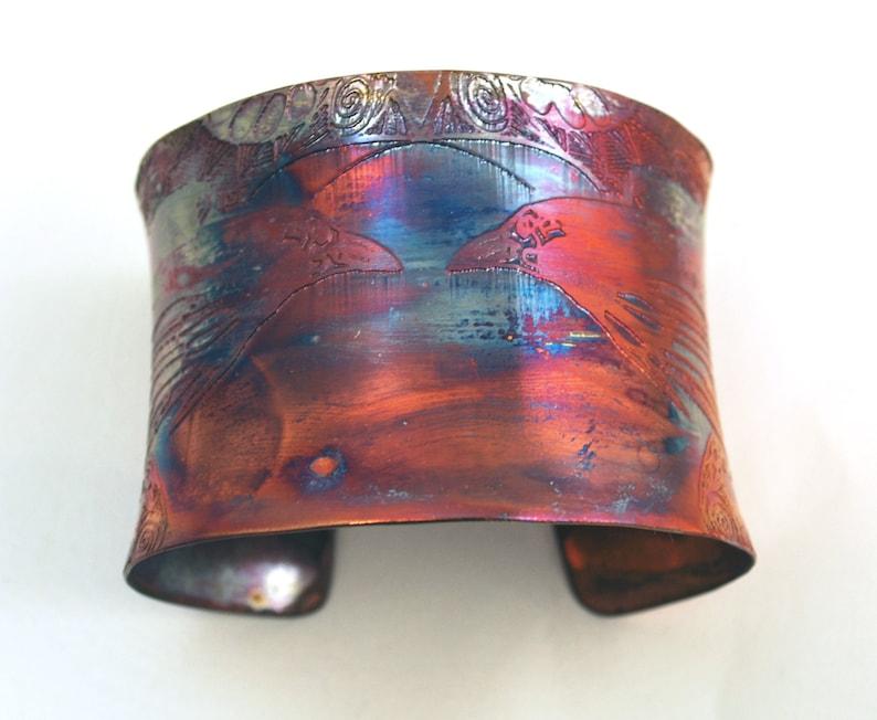 Etched Copper Cuff  Bracelet  Raven design  large image 0