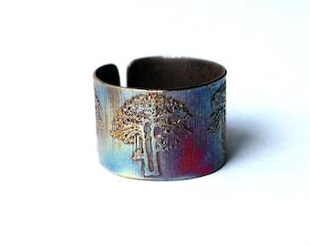 Etched Copper earcuff tree design, tree earcuff, tree ear cuff, copper ear cuff, forest jewellery, nature jewelry