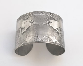steel raven cuff, stainless steel bangle, large surgical steel cuff