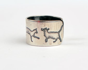 Sterling silver cat earcuff, oxidised feline earcuff, embossed kitten earcuff