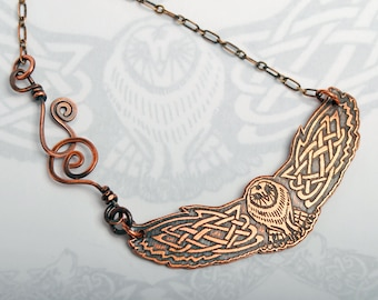 Celtic owl pendant, Viking owl necklace, spiral clasp, copper owls, Norse barn owl, celtic knotwork, pagan jewelry, goddess chain