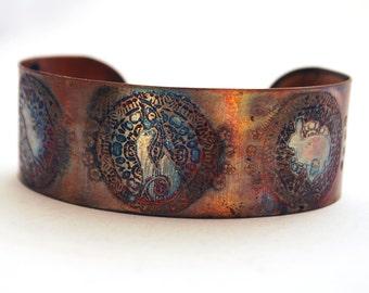 Etched Copper Cuff  Bracelet - Moongazing hare design - medium size