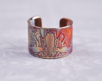 Copper rook earcuff, coloured copper crow earcuff, etched earcuff