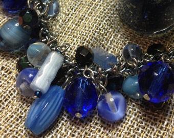 Blue Charm (bracelet 2) - glass and czech glass beaded fringe charm bracelet