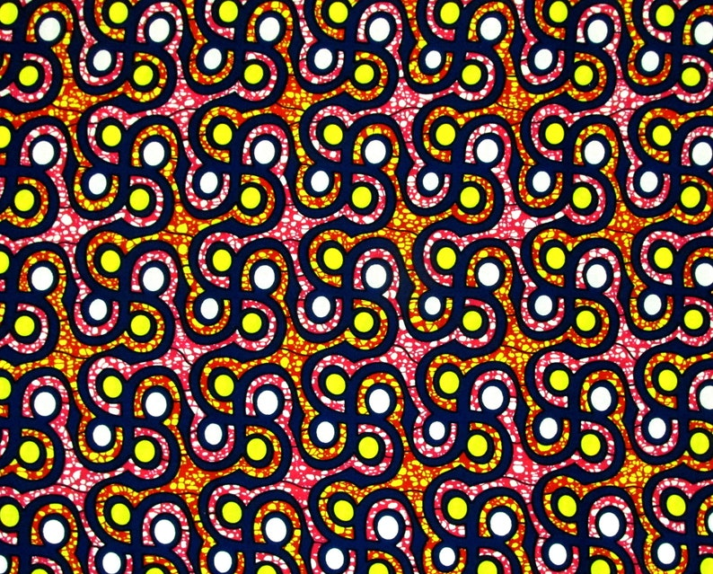 African Fabric 12 Yard Cotton Wax Print BLUE PINK Yellow Abstract BTHY