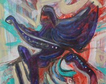 Riding the Storm - small original  fantasy acrylic and ink painting / drawing / sketch on card by Alexandra Cook aka Linandara