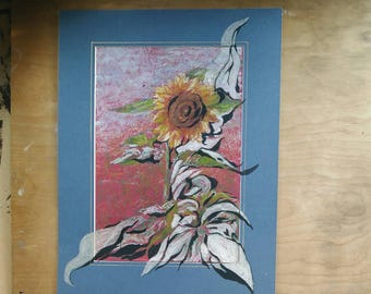 Sunflower bursting out of its frame - oil pastel, ink, acrylics