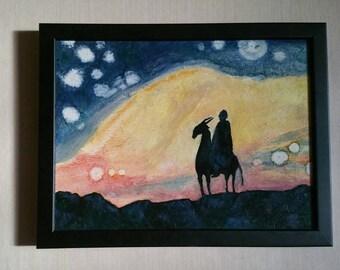 Alien Sky Fantasy Sci-Fi Painting in oil on board, framed, 10x13 in