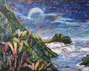 Distant Shores and a Moon, Oil Pastel and Acrylics fantasy painting on black card, A3 42 × 30 cm