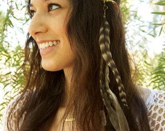 CHAIN HEADPIECE- head chain headdress feather headpiece with crystals