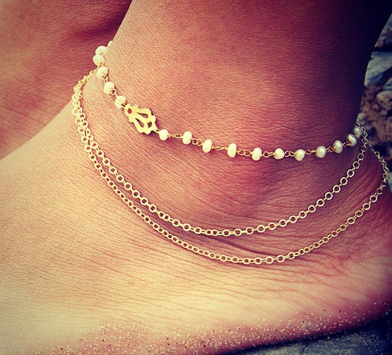 a082a6f2f93b BYSEA ANKLET triple chain Pearl wire wrapped with 24k gold