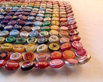 Square Metal Rainbow - bottle cap tapestry