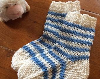 French Striped Baby Socks Knitting Pattern PDF