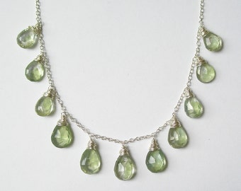 Green Amethyst Wire Wrap Necklace
