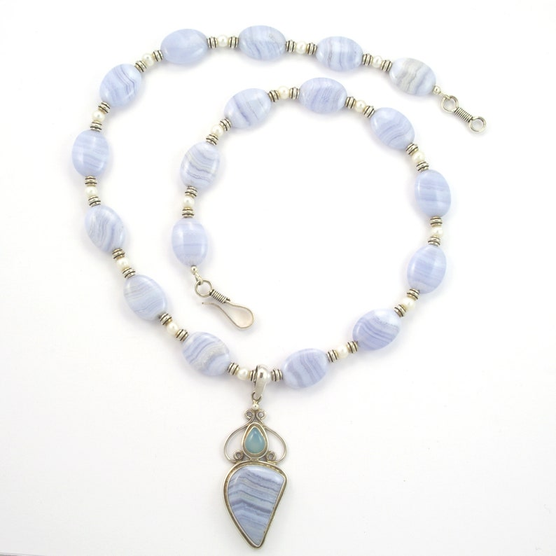 Blue Lace Agate Gemstone Freshwater Pearl and Sterling Silver Blue Chalcedony Pendant Necklace