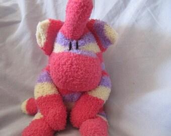 Raz the pink and purple striped fuzzy mohawk monkey, sock animal, mohawk lover, monkey gift, monkey monster, stuffed monster, plush monster