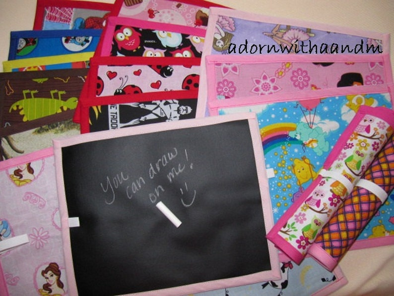 a Chalkimamy Michael Miller Polka Dot butterfly TRAVEL chalkboard mat placemat