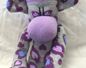 "LONG Sock monkey, Sockimamy ""Pepper"", sock monkey doll, stuffed sock monkey, leopard print, plush monkey, sock animal, lavender, monkey gift"
