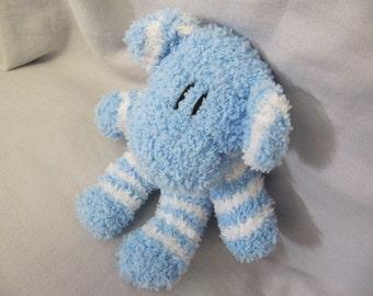 Sockimamy Johnny the light blue striped fuzzy BABY sock monkey, hand stitched, retro monkey, miniature, plush, baby safe, nursery gift