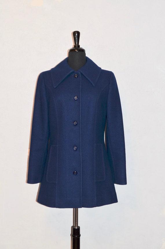 1970s Pendleton wool Pea coat peacoat Royal Blue w