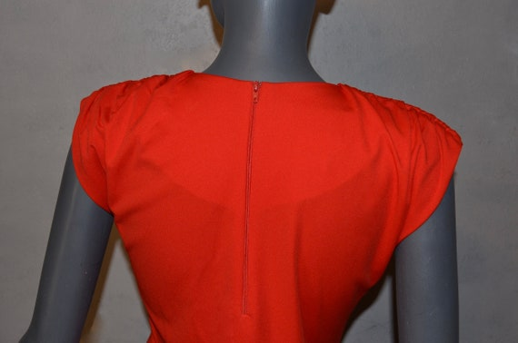1970s Shaheen Red Blouse.  Gathered shoulders.  M… - image 5