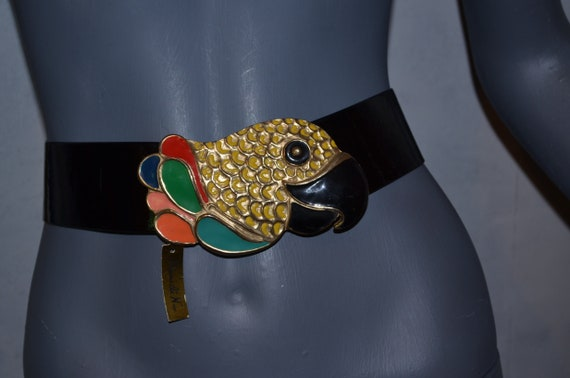 Mimi Di N Parrot Bird Belt.  Enamel and gold plate
