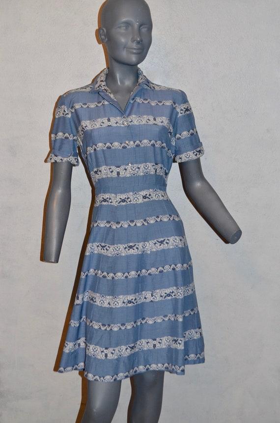 1950s Western Dress by Cay Artley. Shirtwaist A li