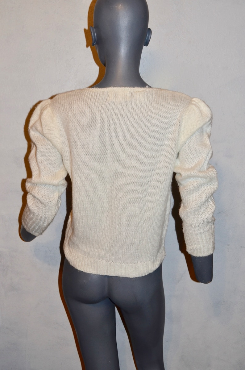 Bust 38 VFG Puff sleeves medium Romantic off white fuzzy sweater Vintage 1980s Boho romantic Sweater By Albee