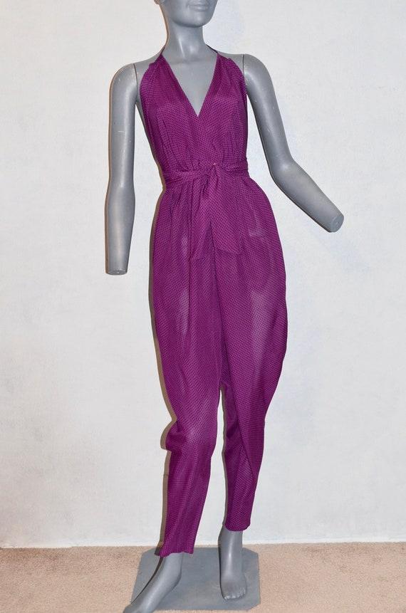 1980s Vintage Purple Halter Jumpsuit.  Purple Grap