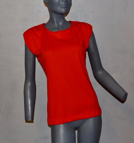 1970s Shaheen Red Blouse.  Gathered shoulders.  M… - image 1