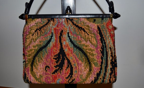1950s 1960s Chenille Gros point Purse handbag. Fea