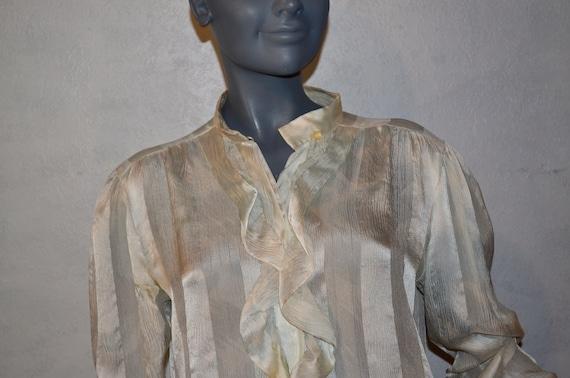 1980s ICONOO silk farm tissue Silk Blouse.  Edward