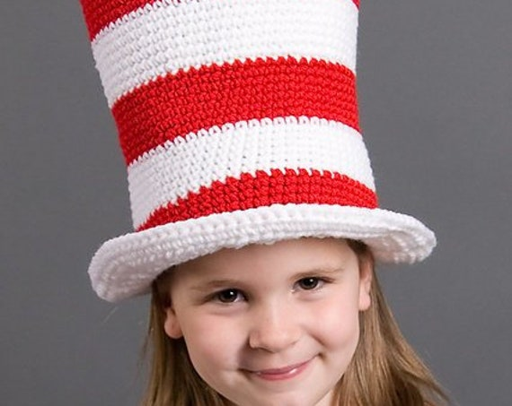 Crochet Pattern PDF 002 - Red and White Striped Top Hat
