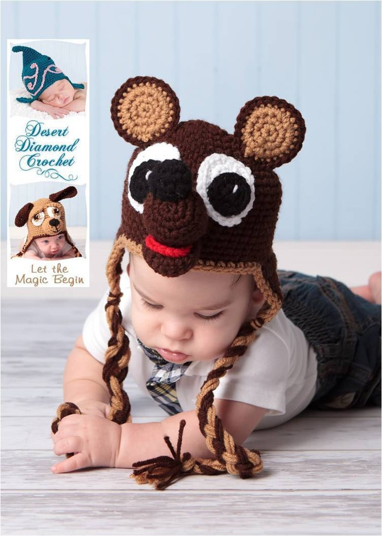 Crochet Pattern 006  Teddy Bear Earflap Hat  All Sizes image 0