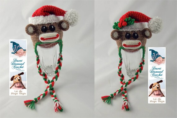 Crochet Pattern 070 - Christmas Santa Sock Monkey Beanie Hat - All Sizes
