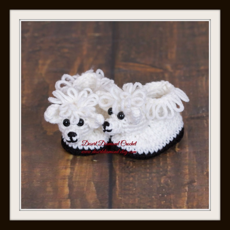 Crochet Pattern 119  Sheep Baby Booties  5 Sizes image 0