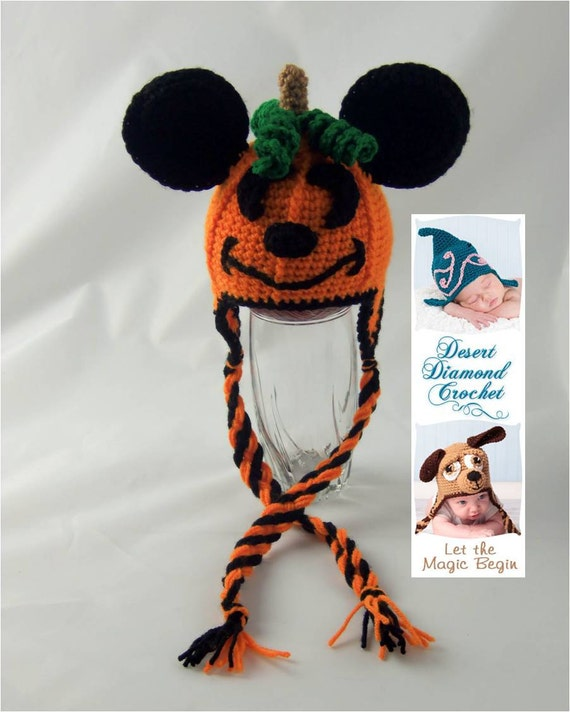 Crochet Pattern 066 - Mouse O' Lantern Pumpkin Hat