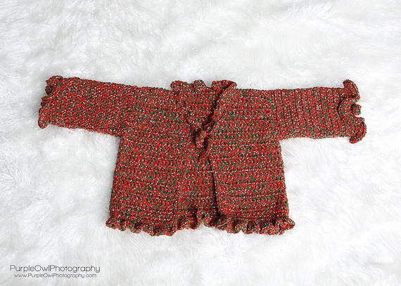 Crochet Pattern 018 - Holiday Sparkle Ruffle Sweater- size 12 - 18 Months