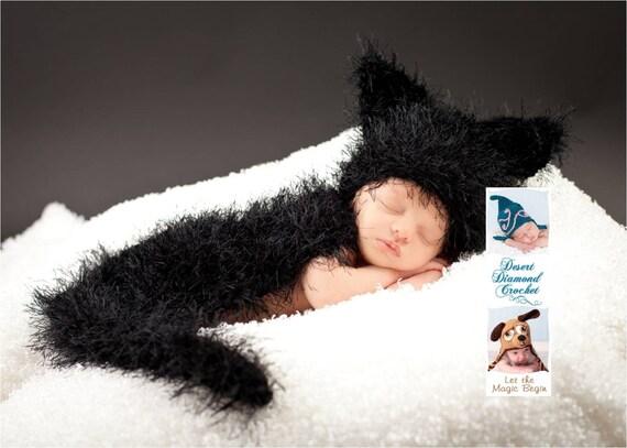 Black Cat Cuddle Critter Cape Newborn Photography Prop