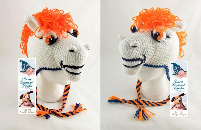 Crochet Pattern 091  Bronco Earflap Beanie Hat  All Sizes image 0