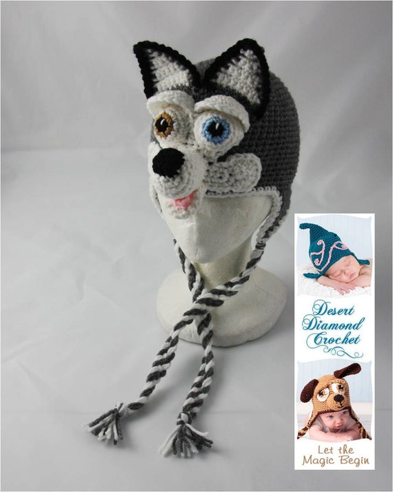 Crochet Pattern 060 - Siberian Husky Earflap Beanie Hat - All Sizes