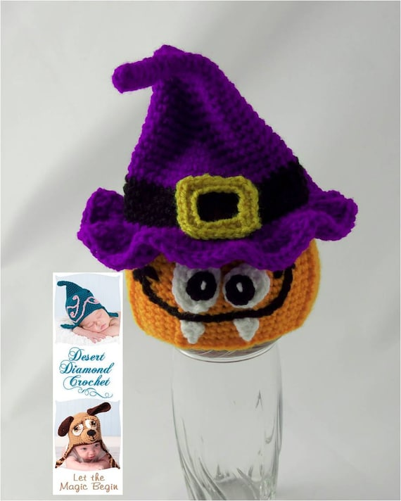 Crochet Pattern 068 - Halloween Pumpkin Witch Warlock Beanie Hat - All Sizes