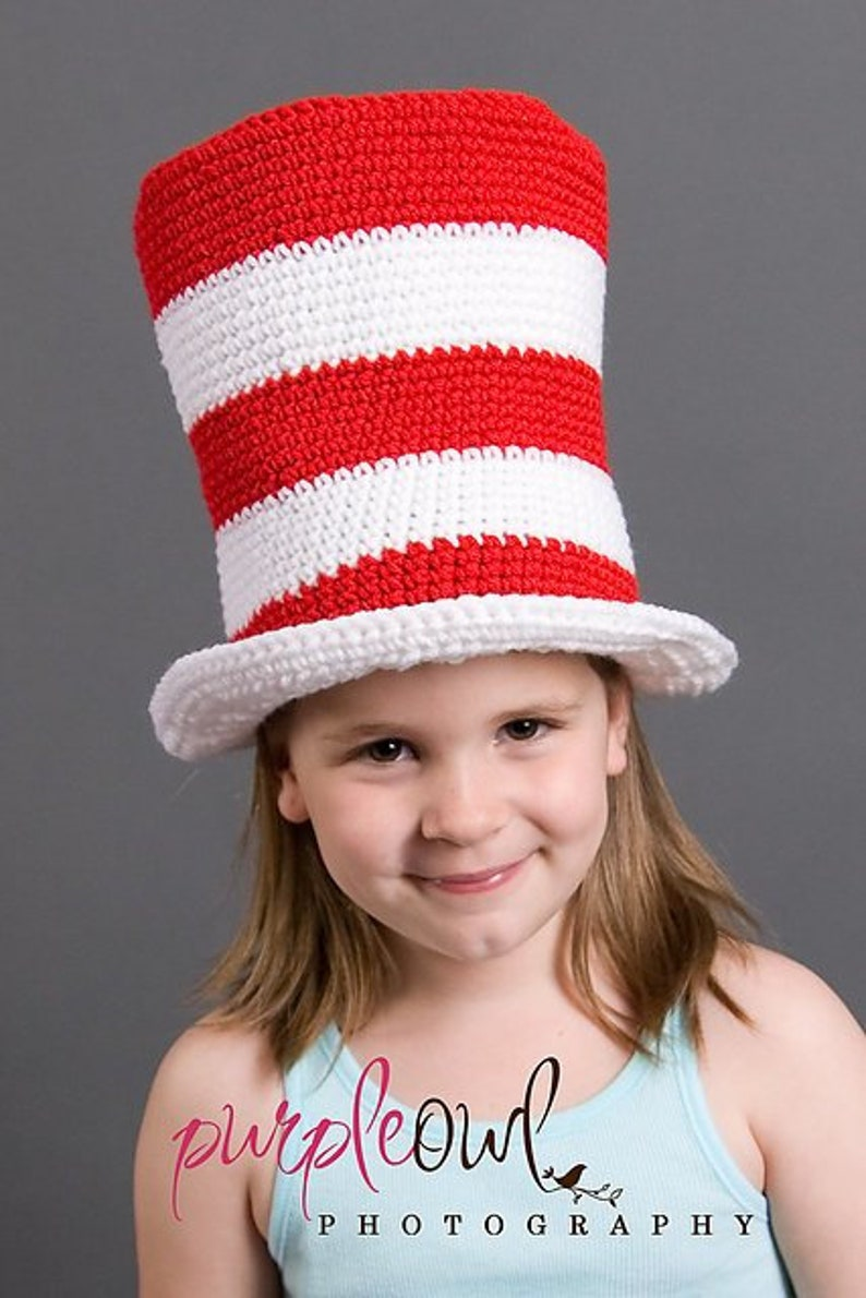 Crochet Pattern PDF 002  Red and White Striped Top Hat image 0