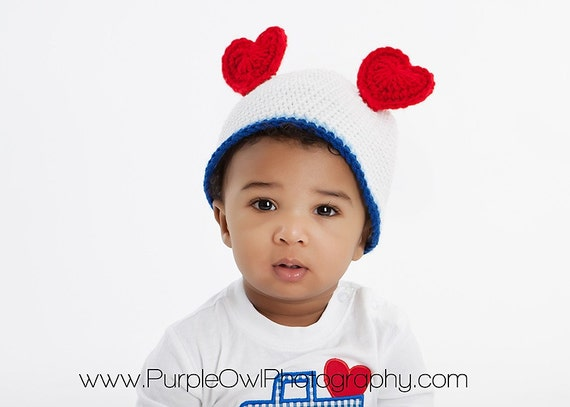 Heart Ears Beanie - Any Color Combo - Any Size