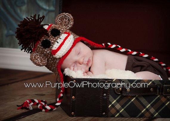 Mohawk Sock Monkey Hat - Any Size - Any Color