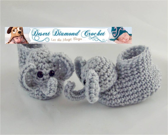 Crochet Pattern 021 - Elephant Baby Booties - 5 Sizes