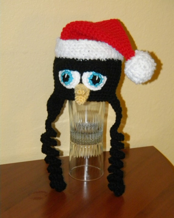 Crochet Pattern 036 - Penguin Santa Hat - All Sizes