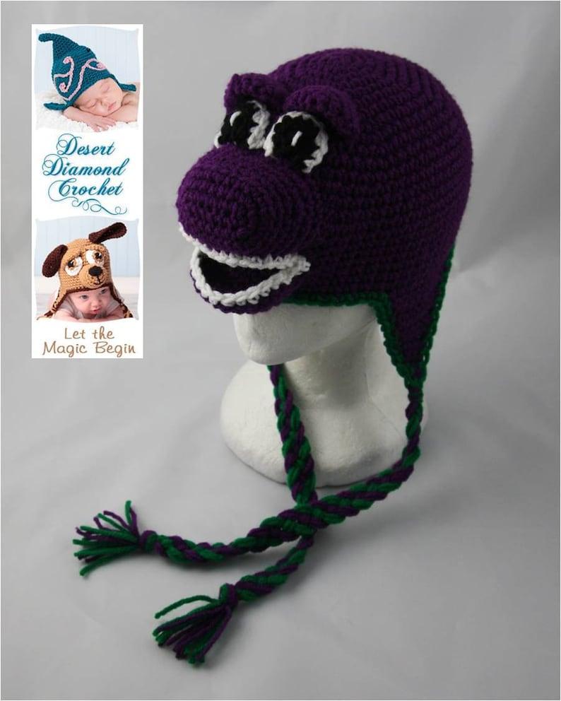 Crochet Pattern 050  Purple Dinosaur Beanie Hat  All Sizes image 0
