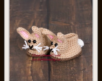 Crochet Pattern 047 - Easter Cotton Tail Bunny Baby Booties/Slippers - 5 Sizes