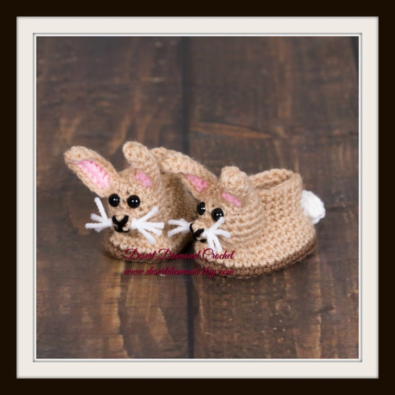 Bunny Rabbit Baby Booties - 5 Sizes - Made To Order